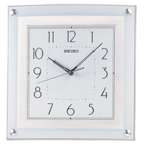horloge murale carr e seiko qxa330 h blanche. Black Bedroom Furniture Sets. Home Design Ideas