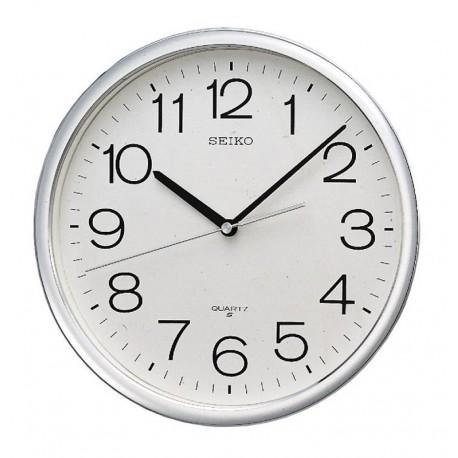 grande horloge murale ronde seiko qxa041st contour gris aluminium. Black Bedroom Furniture Sets. Home Design Ideas