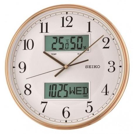 horloge murale seiko qxl014gn affichage lcd calendrier temp rature. Black Bedroom Furniture Sets. Home Design Ideas