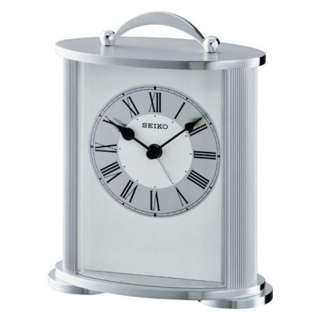 pendule a poser seiko qhe092sn aluminium gris argent alarme. Black Bedroom Furniture Sets. Home Design Ideas