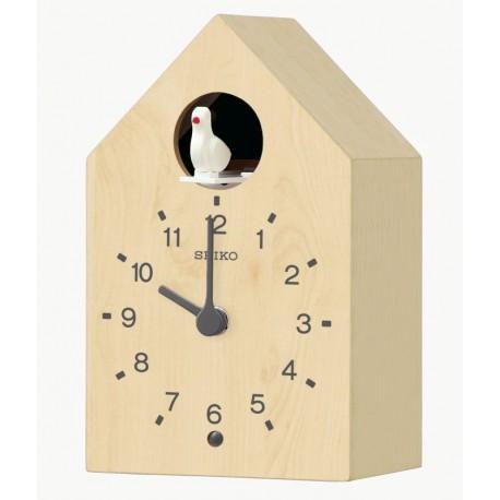 Horloge coucou en bois clair Seiko QXH070AN