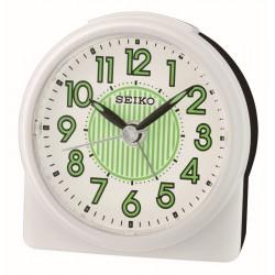 Réveil arrondi plastique blanc premier prix Seiko QHE177WN