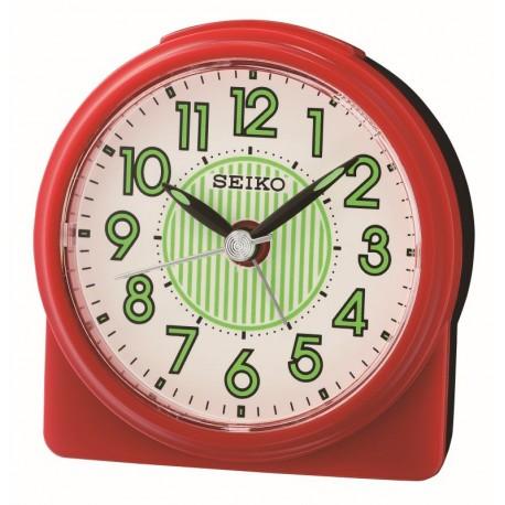 Réveil arrondi plastique rouge premier prix Seiko QHE177RN