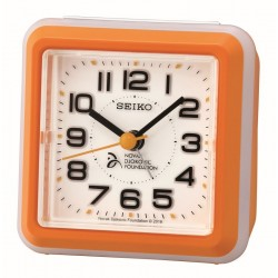 Réveil carré plastique orange Seiko QHE908EN fondation Novak Djokovic