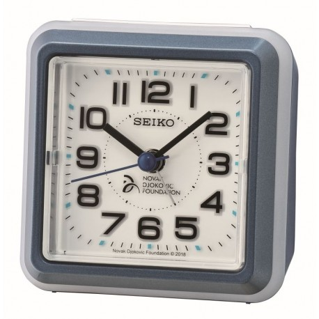 Réveil carré plastique gris Seiko QHE908LN fondation Novak Djokovic