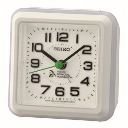 Réveil carré plastique blanc Seiko QHE908WN fondation Novak Djokovic