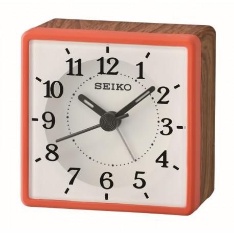 Réveil analogique premier prix Seiko QHE175RN effet bois rouge