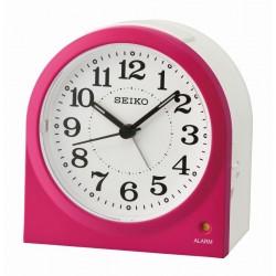 Réveil analogique arrondi Seiko QHE179PN Rose Lumibrite