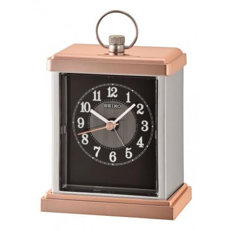 Horloge à poser noir et doré rose Seiko QHE148AN
