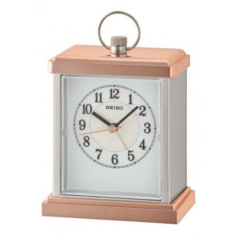 Horloge à poser blanc nacré et doré rose Seiko QHE148PN