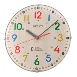 Horloge murale effet bois chiffres 3D colorés Seiko QXA932ZN