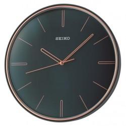 Horloge murale bleu mat index doré rose Seiko QXA739LN