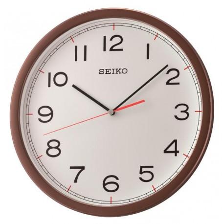 Horloge murale marron métallisé et blanc Seiko QXA476BT