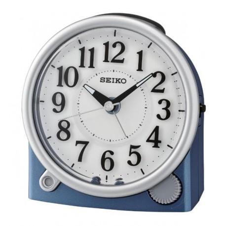 Réveil arrondi bleu métallisé Seiko QHE176LN