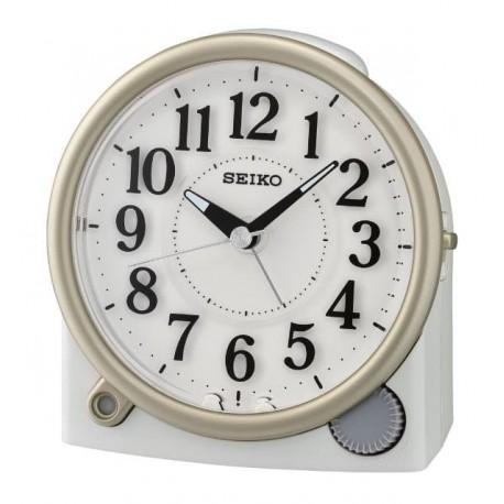 Réveil analogique arrondi blanc mat Seiko QHE176WN
