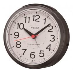 Réveil analogique rond noir métallisé Seiko QHR026KN