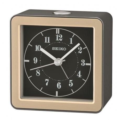 Réveil analogique carré noir et doré Seiko QHE082NN