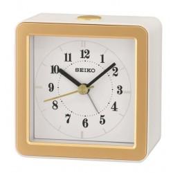 Réveil analogique carré blanc et doré Seiko QHE082WN