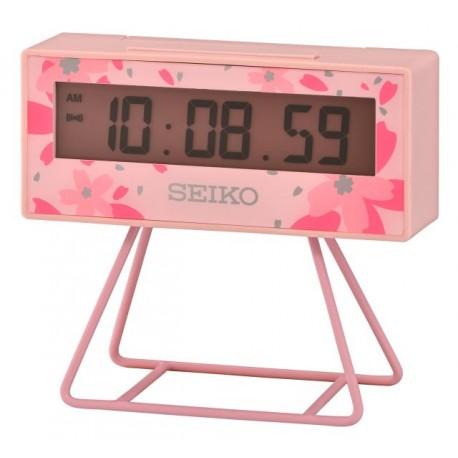 Réveil digital rectangle rose fleurs Seiko QHL082PN