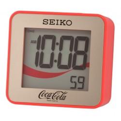 Réveil digital carré coca doré et rouge Seiko QHL903QN